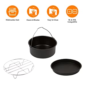 5.8QT /& 7QT Air Fryers Dishwasher Safe. Universal Compatibility with most 4QT Simple Living XL Air Fryer 3 Piece Accessory Pack