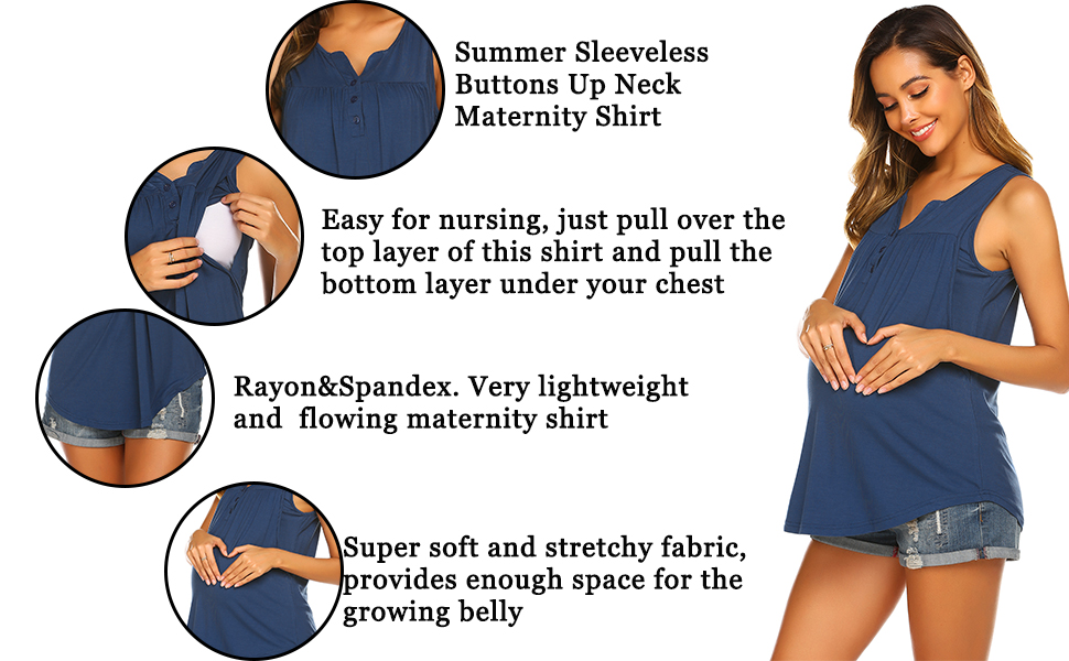 Ekouaer Maternity Tops Short Sleeve Shirts  T-Shirts Tunic Round Neck Mama Pregnancy Clothes