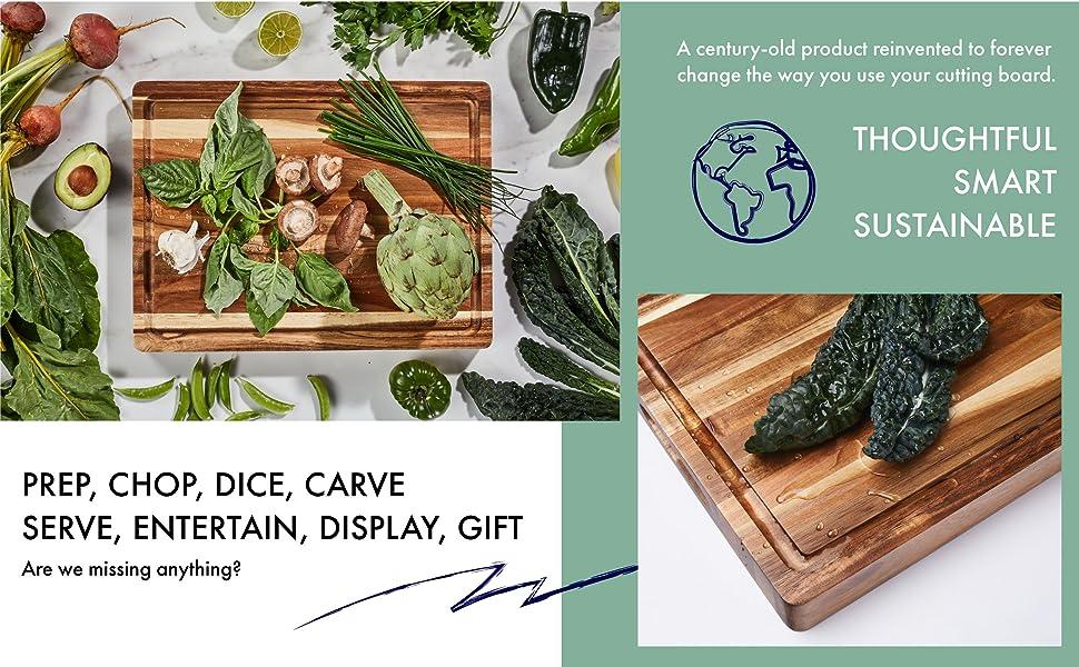 A countertop full of fresh green produce on an acacia wood cutting board.