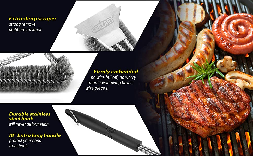 SOFT AND STRONGER 18'' HANDLE safe bristles grill brush stainless scraper