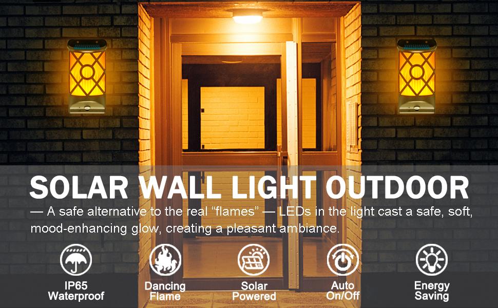 solar flame wall light