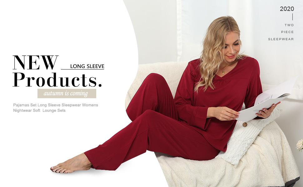Pajamas Set Long Sleeve Sleepwear Womens Nightwear Soft  Lounge Sets