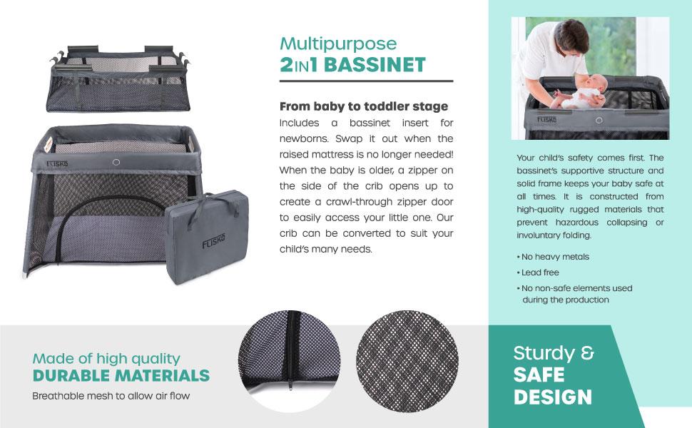 2 in 1 bassinet, safe, baby, multipurpose,  baby sleep, baby crib, baby bassinet, portable crib