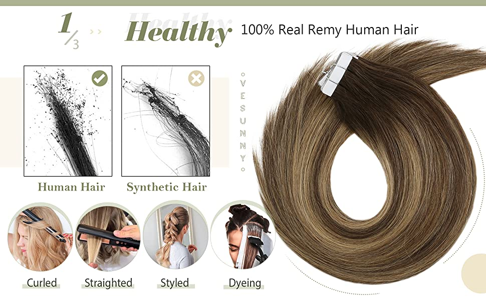 Tape in Extensions Real Human Hair Balayage