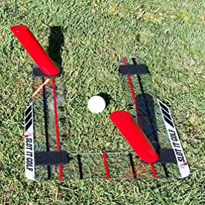 Slot It Golf Swing Trainer with a two pole set up