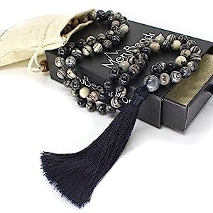 Black Veined Jasper Mala Necklace