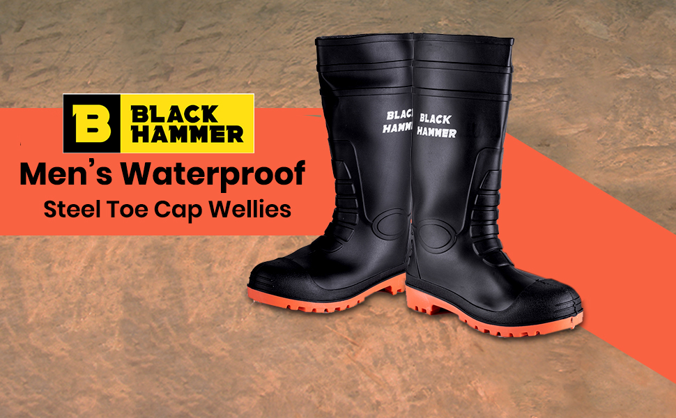 Safety wellies with steel toe cap and steel midsoles proection S5 SRC rated
