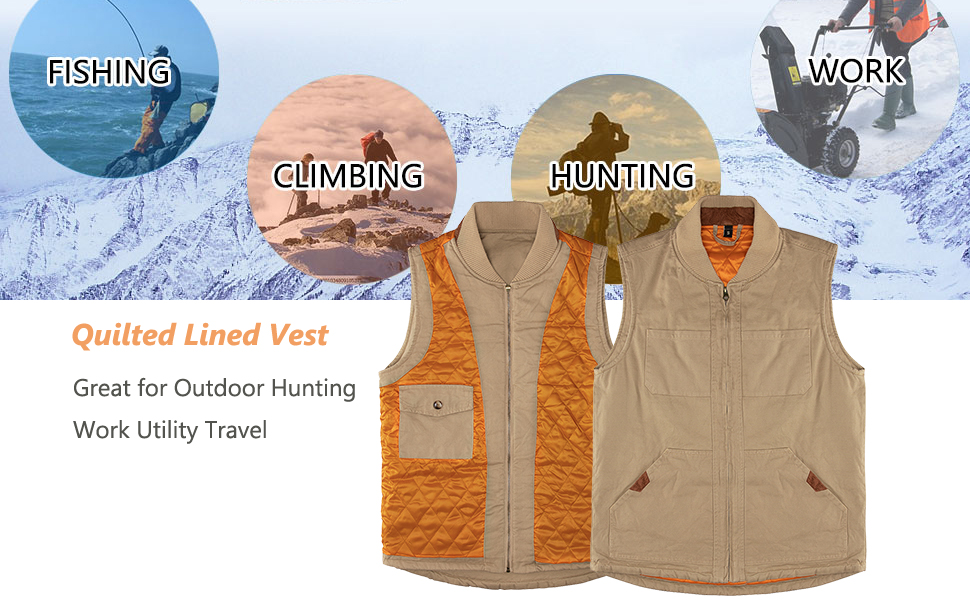 Men's Winter Warm Outdoor Utility Rugged Canvas Quilted Hunting Work Vest
