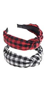 2 Pack of Womens Vintage Plaid Headbands Headwraps Hair Band Buffalo Plaid Black and Red