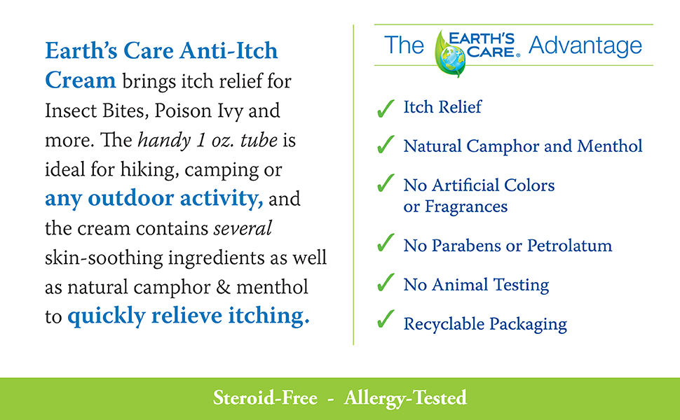 Anti itch cream, camphor, menthol, earth's Care, natural, insect bite, poison ivy, sunburn, relief