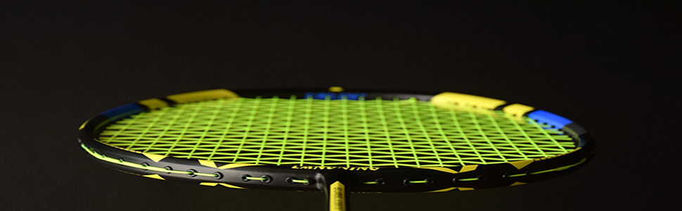 The 76-mesh racket frame provides the control stability