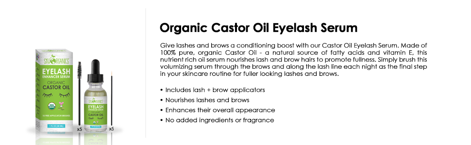 organic caster oil caster oil hair growth grow eyebrows, lashes brows, long eyebrows serum eyelashes