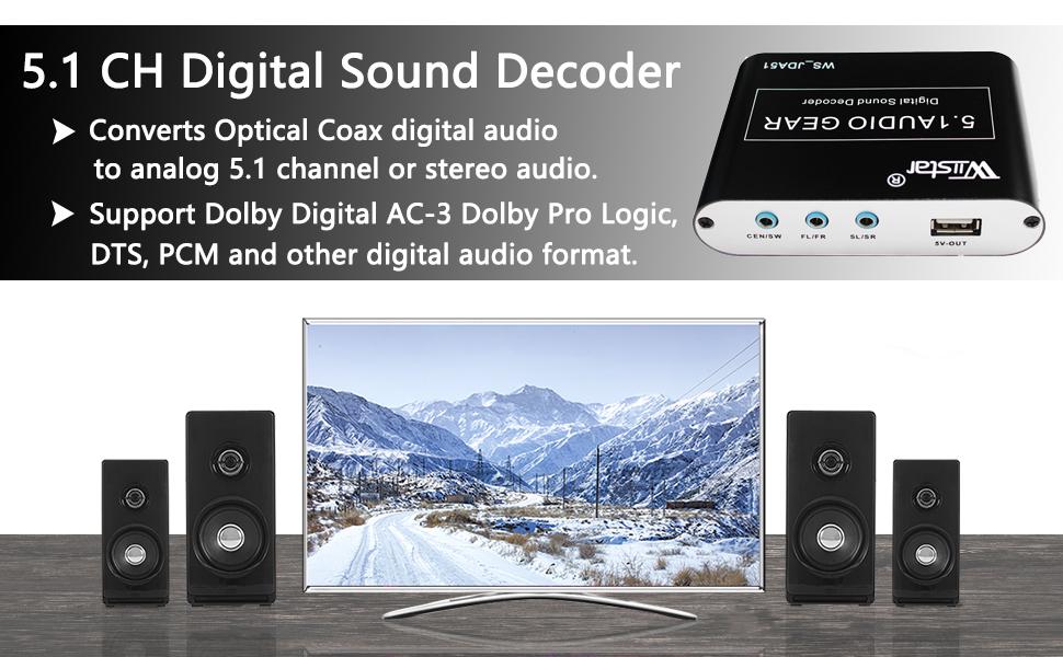 Wiistar 5 1 Channel AC3/DTS Audio Gear Digital Surround Sound Rush Decoder  HD Player with USB Port