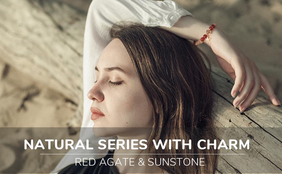Red Agate and Sunstone Bracelet Natural Gemstone Handmade Beaded Stretch Bracelets Spiritual Reiki
