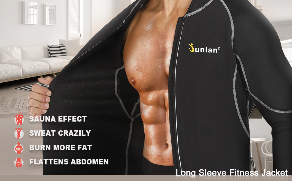 Men Sweat Neoprene Weight Loss Sauna Suit Workout Shirt Body Shaper  Clothes Shapewear Long Sleeve