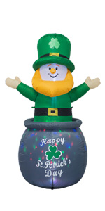 6 Feet St. Patrick's Day Inflatable Leprechaun in Pot with Coins Blow Up
