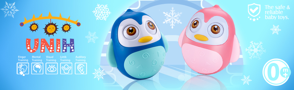 Roly Poly Baby Toys 6 to 12 Months Developmental, Tummy Time Toy, Penguin Tumbler Infant Boy Girl