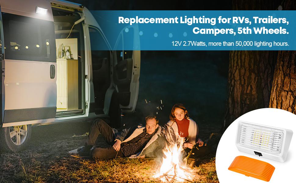 LED RV Porch Light Exterior Utility 12V Lighting Fixture LED Panel