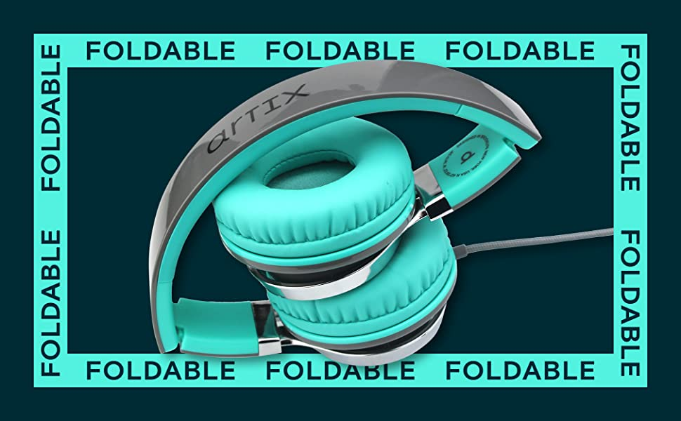 1  Artix CL750 Foldable Noise Isolating On Ear Headphones Wired with Microphone and Volume Control, Stereo Head Phones Corded with Adjustable Headband for Computer, Laptop and Cell Phone (Turquoise/Gray) 63f853b0 247a 4653 a580 c21a7b0f2947