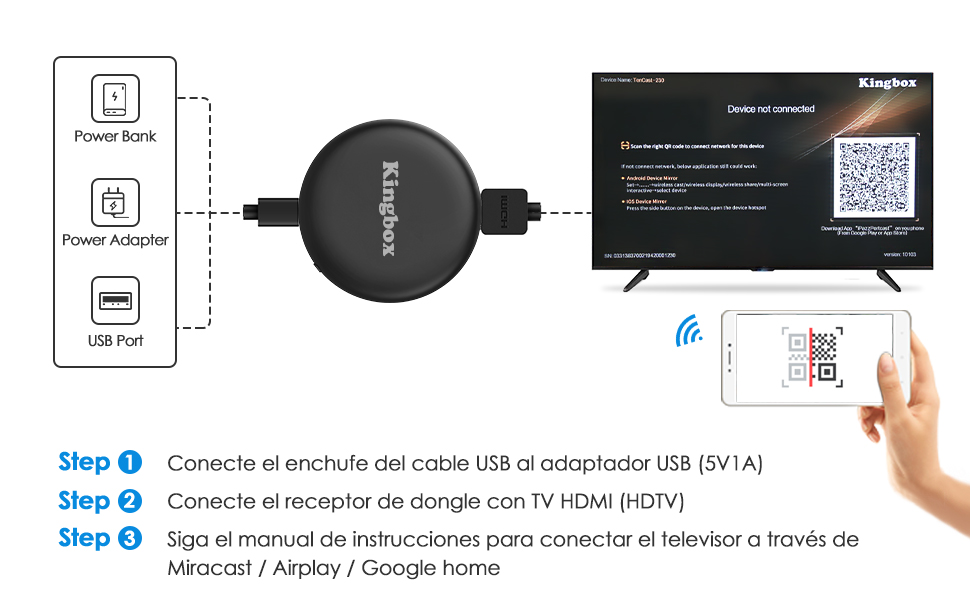 protocolos de Soporte como Google Chromecast//Miracast//Airplay//DLNA Admite Youtube Netflix y m/ás Chromecast Dongle de pantalla inal/ámbrica,【Nueva versi/ón 2019】Totiny Dongle de pantalla WiFi 1080P