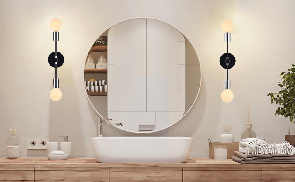 Chrome /black Bathroom Vanity Wall  Sconce