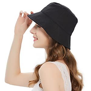 black womens bucket hat bucket hats for women teens girls wide Brim summer bucket beach sun hats