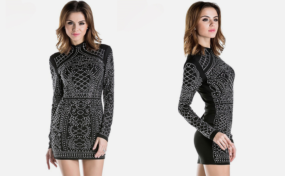 Meaneor Womens Sequin V-Neck Long Sleeve Bodycon Sheath Mini Dress US Store