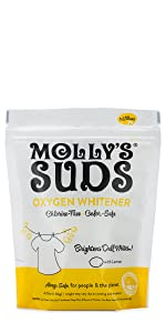 molly's suds, oxygen whitener, natural, ingredient, whitener, bleach alternative, clean, laundry