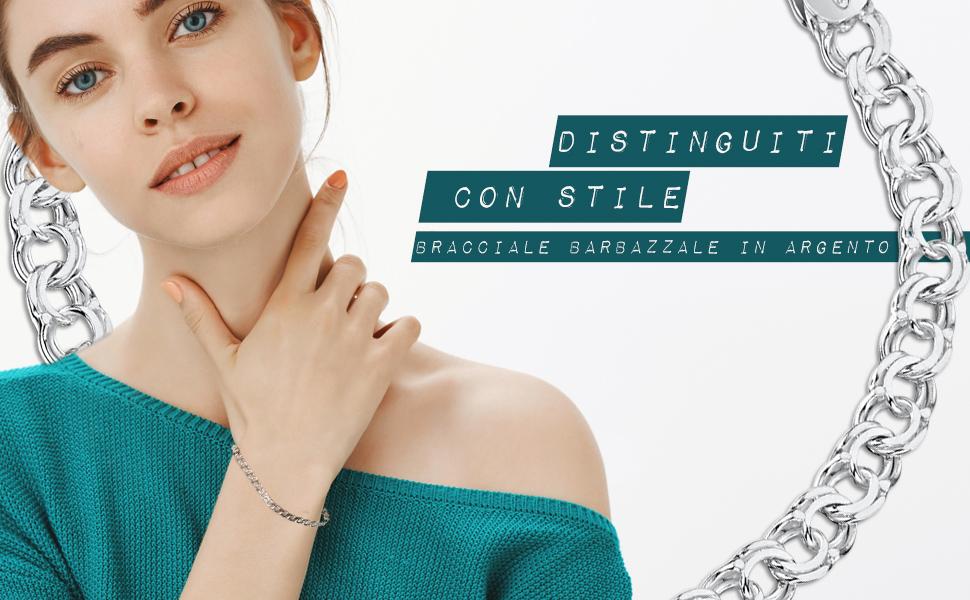 Amberta Bracciale da Donna in Argento Sterling 925 Lunghezza 19 cm