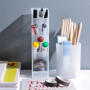 Marbrasse Organizador de escritorio Organizador de pluma Papeler/ía Caddy para oficina 6Pcs Portavasos Portavasos suministros para el hogar Blanco transl/úcido escuela