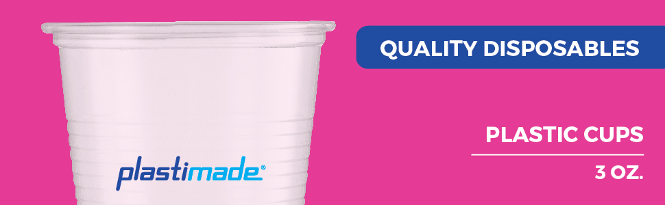 3 oz. Plastimade plastic cup product image and features.