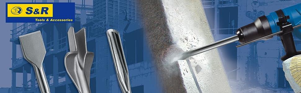 S&R Tools Accessories Concrete Tile Chisels SDS-Plus