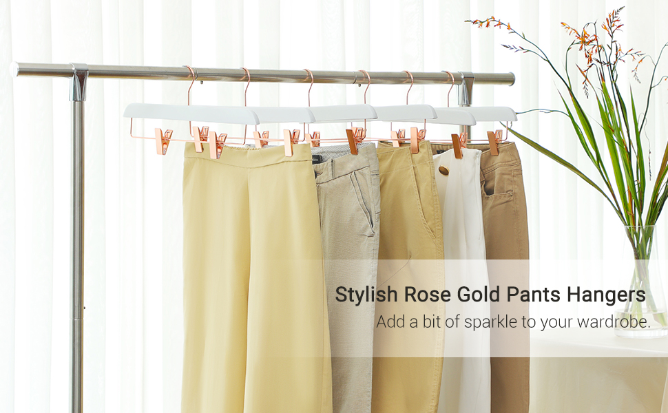 SONGMICS 12-Pack Pants Hangers, Heavy-Duty Pants Hangers with Clips, Premium Wood Skirt Hangers, Space-Saving, 360° Swivel Hooks, 14 Inches Long, ...