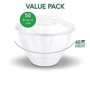 Disposable Salad Bowls with Lids (50 Count) 48 oz. Plastic Salad Bowls - Large Salad Bowl