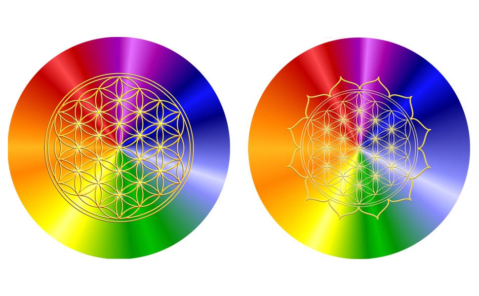 HerzBlume des Lebens Mousepad rainbow Mauspad ø 19 cm Karaffen-Untersetzer