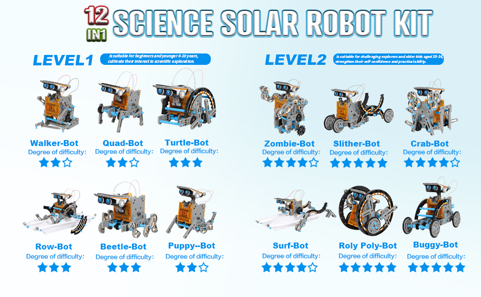 12-in-1 Science Solar Robot Kit for Kids,STEM Educational DIY Solar Powered Building Toys Set