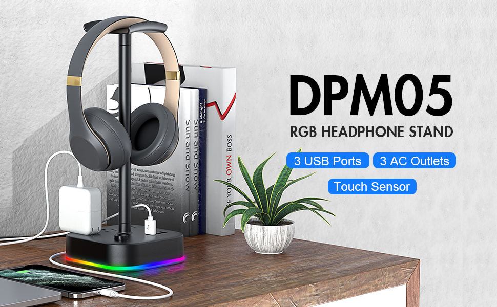 RGB headphone stand