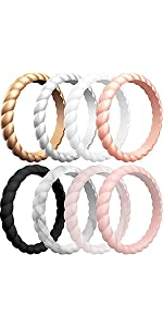 Thin Braided Silicone Wedding Bands for Women
