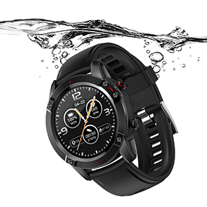 Stainless Steel Smartwatch with Included Genuine Leather and High-Impact Sports Bands