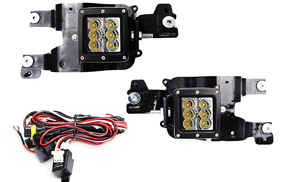 Fog Area Mounting Brackets and On-Off Switch Wire Harness 2 Including iJDMTOY Foglight Location Fit LED Pod Light Kit For 2005-2007 Ford F250 F350 F450 Super Duty 3-Inch White 24W LED Cubic Lamps