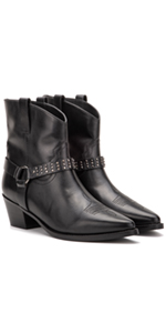 Mia Women's Studded Buckled Cowboy Slip On Ankle Boots