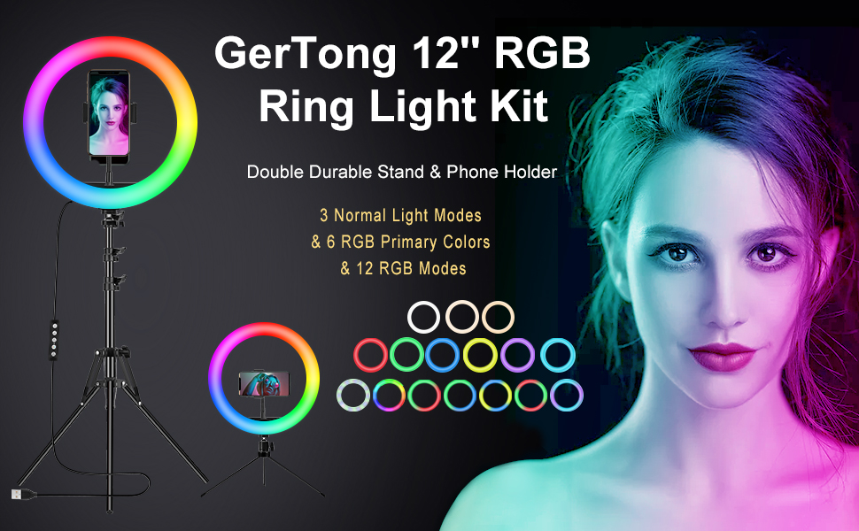 RGB led ring light with stand and phone holder