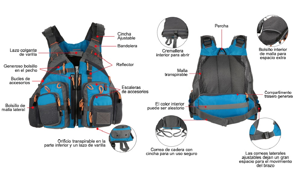 Details about  /Fly Fishing Jacket Vest Life Jacket Vest Fishing Backpack Grey//Red//Green//Blue