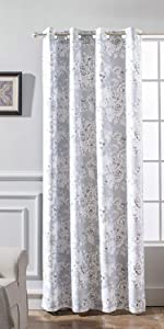 Floral Pencil Window Curtain 52 84 Inch Grey