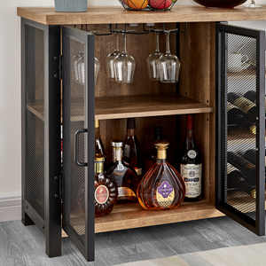 Wine bar cabinet rack for liquor vintage