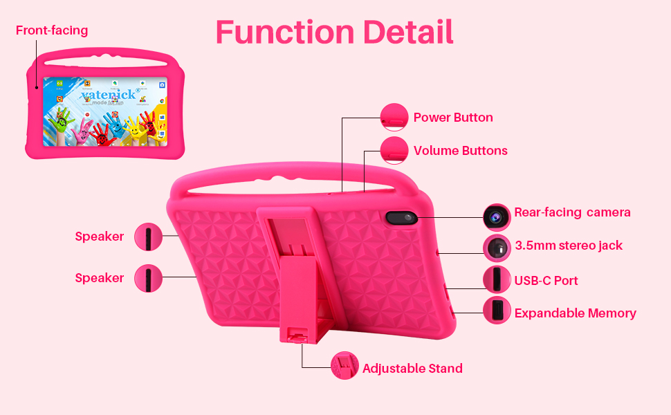 eletronic tablet - Kids Tablet 7 Inch IPS HD Display QuadCore Android 10.0 Pie Tablet PC For Kids - GMS Certificated Dual Cameras 2GB RAM 32GB ROM WiFi With Handheld Kids-Proof Silicon Case For Kids Educational (Pink)
