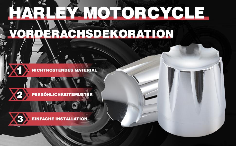 Katur Motorrad Vorderachsmutter Abdeckkappe Schraubensatz Für Harley Touring 08 15 Flt Flh Dyna Softail Chrom Auto