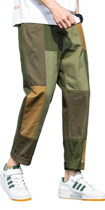 VANVENE Men's Cargo Trousers Casual Color Block Cotton Jogging Pants Straight with Drawstring