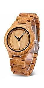 Bewell 木製腕時計 メンズ 竹 腕時計 日本製 クオーツ 竹製 腕時計 軽量 カジュアル 人気 天然木 竹製腕時計 贈り物