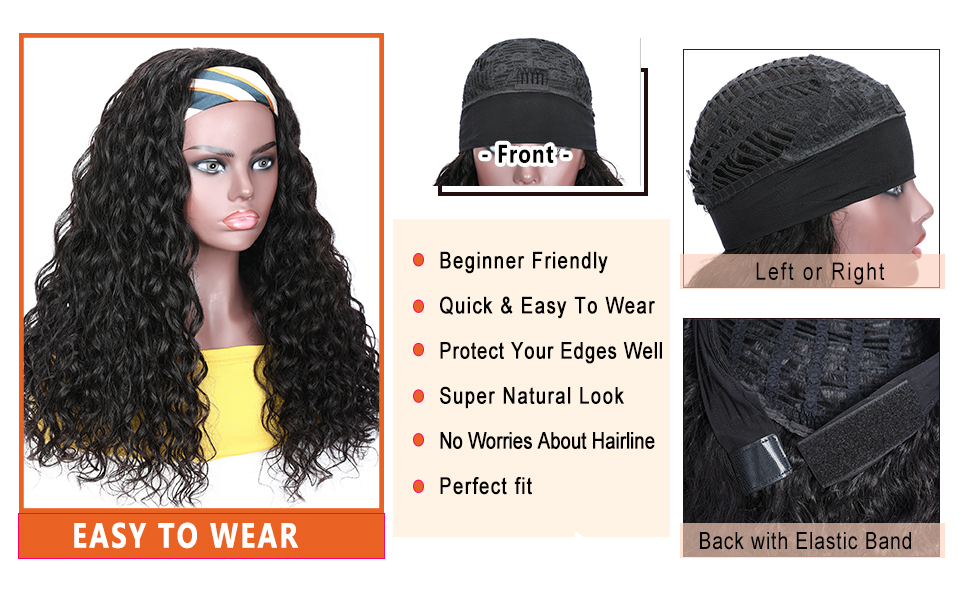 headband remy water wave hair wig